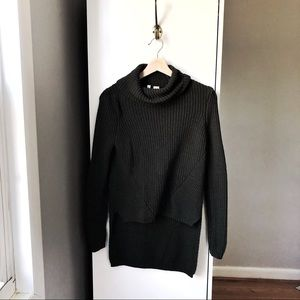 Moth ANTHRO chunky knit mock neck high low sweater